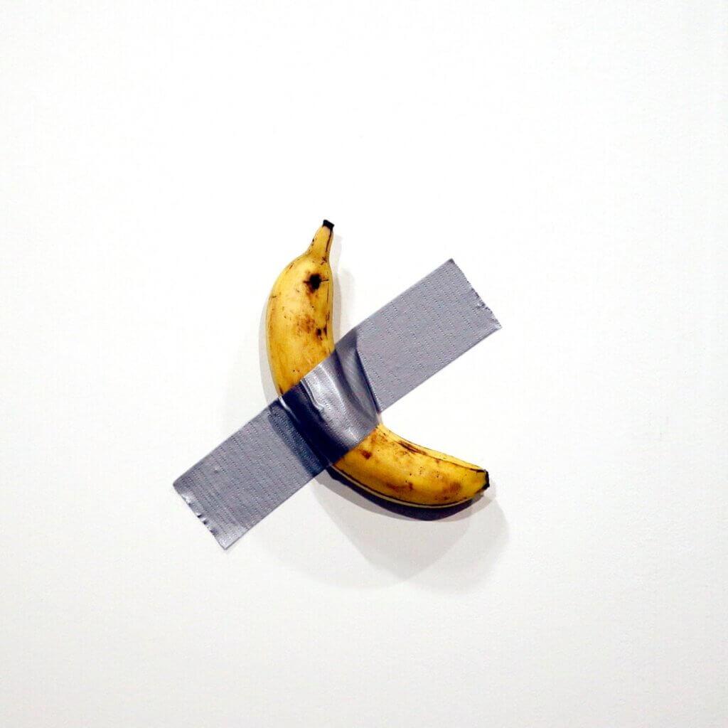 "Banana taped onto wall, Maurizio Catalan ""The Comedian"" (2019)"
